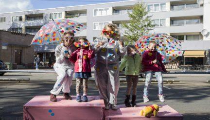 Kinderen brengen de actie Happy Streets onder de aandacht.Foto: Danielle Jiskoot