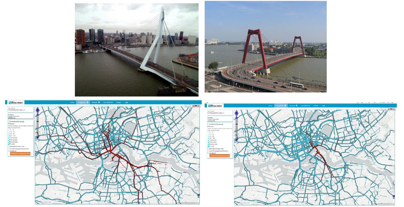 Fietsdata Erasmusbrug en Willemsbrug, Rotterdam. Beeld: Gemeente Rotterdam