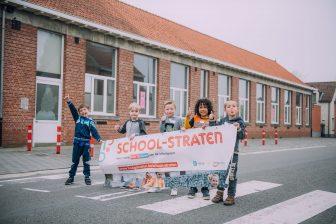 Promotiefoto van het School-straat-project in Hoogstraten. FOTO Paraatvoordeschoolstraat.be