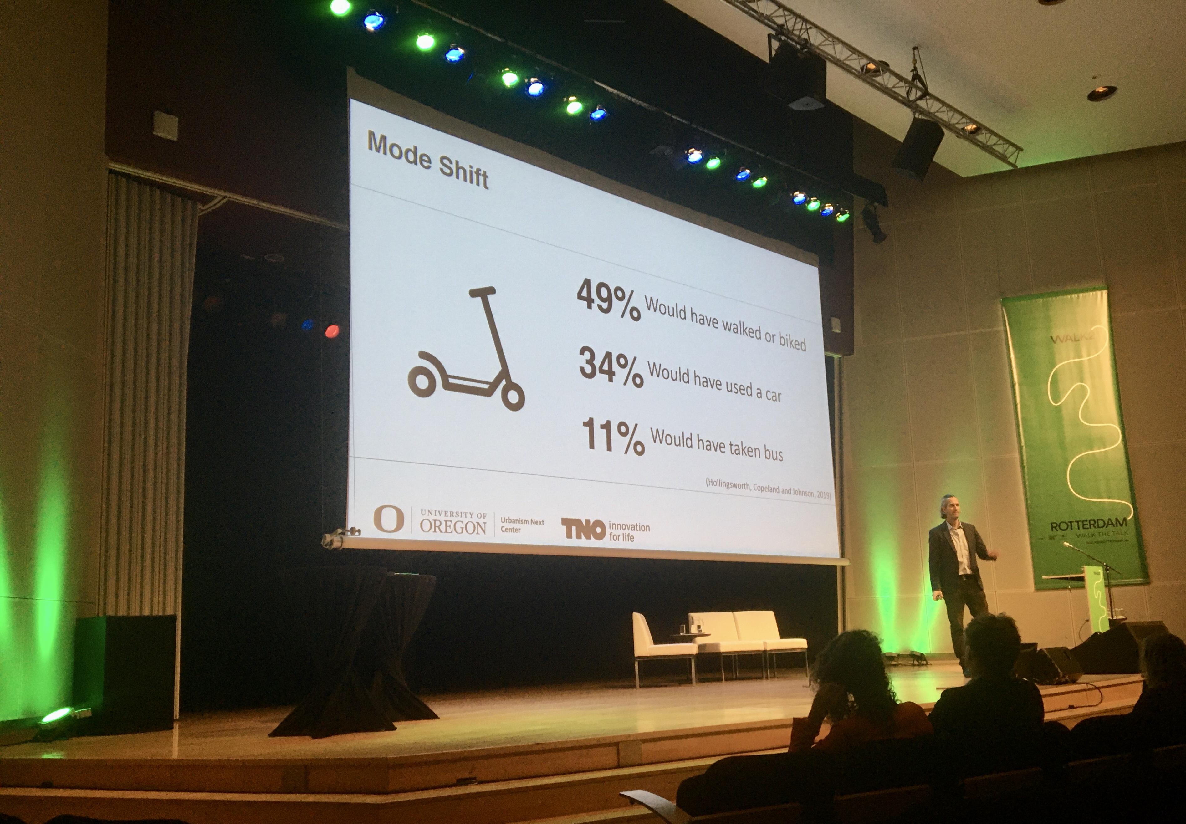 Nico Larco toont modal shift tijdens Walk21 BEELD VerkeersNet