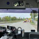 Bus rijdt voorbij werkzaamheden (foto: Groningen Bereikbaar)