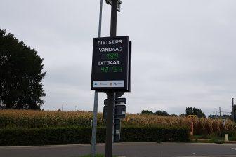 Telling fietsers in Sint-Niklaas Belgie
