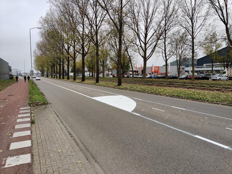 Markering Atoomweg voor aanpassen snelheid