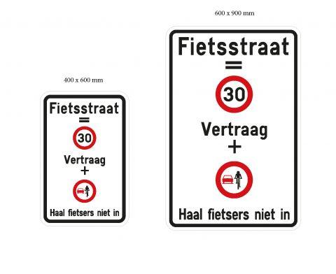 Sensibiliseringsborden fietsstraten (bron: Antwerpen)